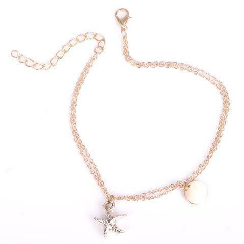 Buy Chic Solid Color Double-Layer Fancy Anklets - GOLDEN  Mobile