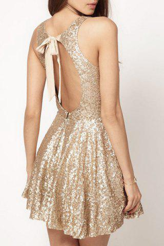 Shops Sexy Open Back Sequined Sleeveless Mini Dress For Women
