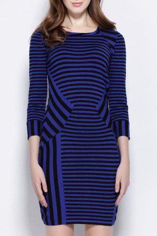 Fashion Stylish Scoop Collar 3/4 Sleeve Striped Slimming Women's Dress