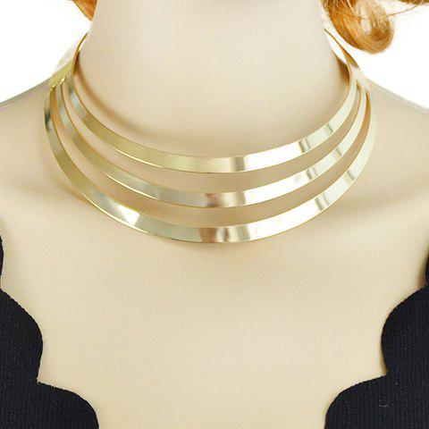 Best Layered Hollow Out Polished Choker Necklace GOLDEN