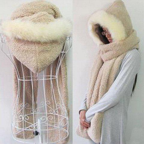 Chic Downy Faux Fur Embellished Simple Hooded Gloves Scarf For Women - Random Color - S