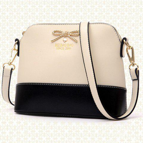 Hot Elegant Bow and PU Leather Design Women's Crossbody Bag - OFF-WHITE  Mobile