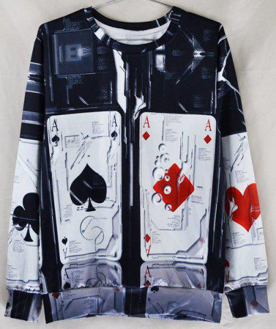 Fashion Stylish Fitted Round Neck Color Block 3D Poker Print Long Sleeve Cotton Blend Sweatshirt For Men - XL COLORMIX Mobile