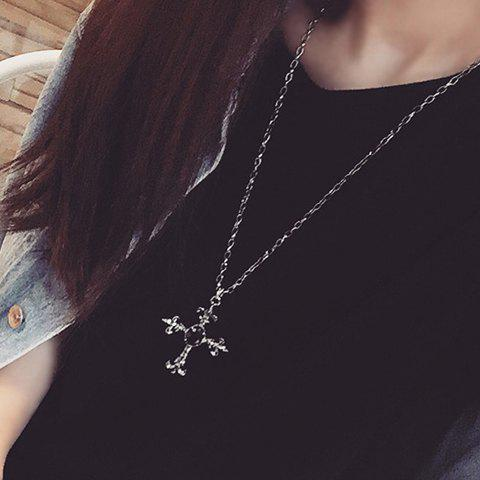 Best Faux Gem Cross Pendant Necklace BLACK