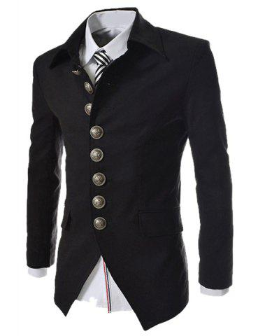 Affordable Modish Slimming Turndown Collar Single Breasted Long Sleeve Cotton Blend Blazer For Men