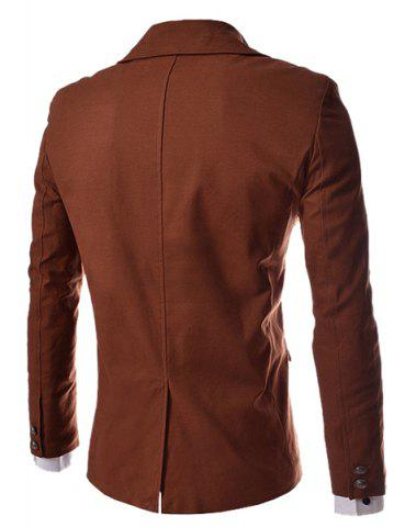 Outfit Modish Slimming Turndown Collar Single Breasted Long Sleeve Cotton Blend Blazer For Men - 2XL BROWN Mobile