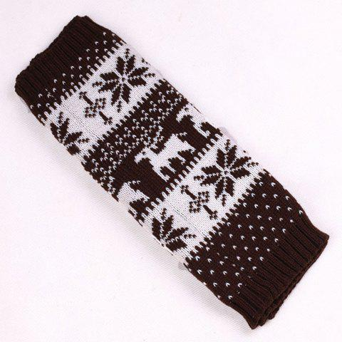 Trendy Pair of Chic Snowflake and Deer Pattern Knitted Leg Warmers For Women COFFEE
