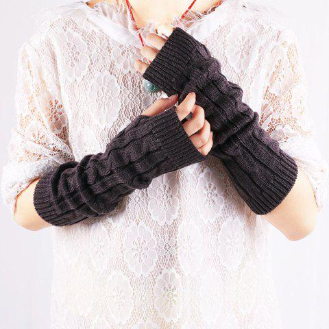 Sale Pair of Chic Solid Color Hemp Flower Knitted Fingerless Gloves For Women