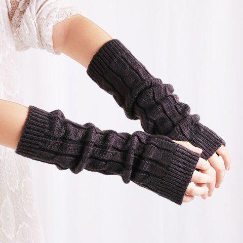 Online Pair of Chic Solid Color Hemp Flower Knitted Fingerless Gloves For Women - COLOR ASSORTED  Mobile