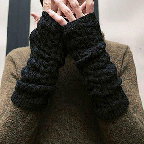 Latest Pair of Chic Solid Color Hemp Flower Knitted Fingerless Gloves For Women - COLOR ASSORTED  Mobile