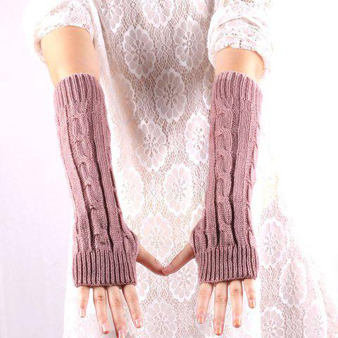 Affordable Pair of Chic Solid Color Hemp Flower Knitted Fingerless Gloves For Women - COLOR ASSORTED  Mobile