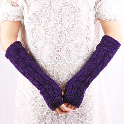 New Pair of Chic Solid Color Hemp Flower Knitted Fingerless Gloves For Women - COLOR ASSORTED  Mobile