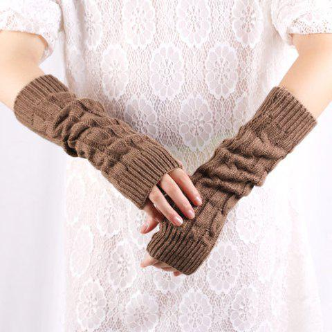 Store Pair of Chic Solid Color Hemp Flower Knitted Fingerless Gloves For Women - COLOR ASSORTED  Mobile