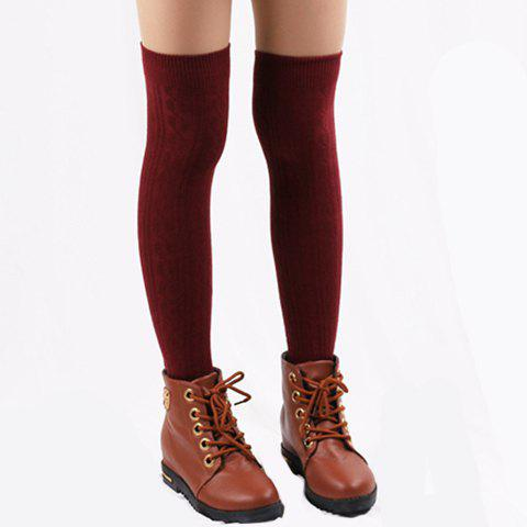 Unique Pair of Chic Hemp Flower Jacquard Solid Color Knitted Stockings For Women COLOR ASSORTED