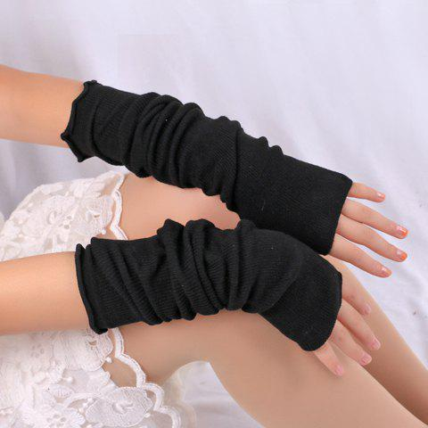 Shop Pair of Chic Pure Color Knitted Fingerless Gloves For Women