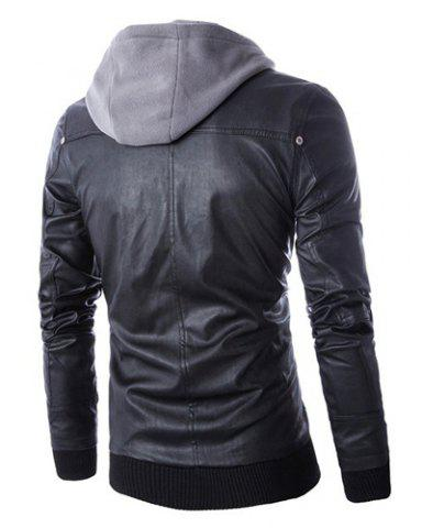 Outfit Hooded Faux Twinset Rib PU Leather Jacket - XL BLACK Mobile