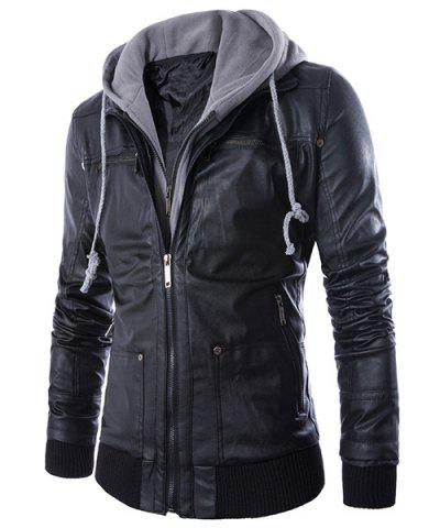 Shops Hooded Faux Twinset Rib PU Leather Jacket BLACK XL