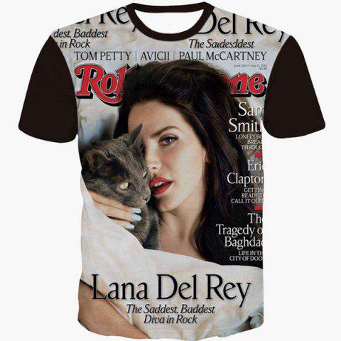 Trendy Round Neck 3D Girl Magazine Print Slimming Short Sleeve Men's T-Shirt