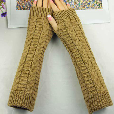 Latest Pair of Chic Braid Shape Embellished Long Knitted Fingerless Gloves For Women - COLOR ASSORTED  Mobile