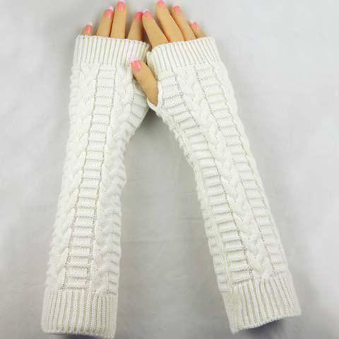 Chic Pair of Chic Braid Shape Embellished Long Knitted Fingerless Gloves For Women - COLOR ASSORTED  Mobile