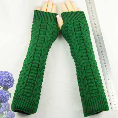 Store Pair of Chic Braid Shape Embellished Long Knitted Fingerless Gloves For Women - COLOR ASSORTED  Mobile