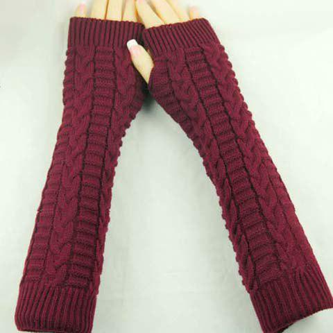 Fancy Pair of Chic Braid Shape Embellished Long Knitted Fingerless Gloves For Women - COLOR ASSORTED  Mobile