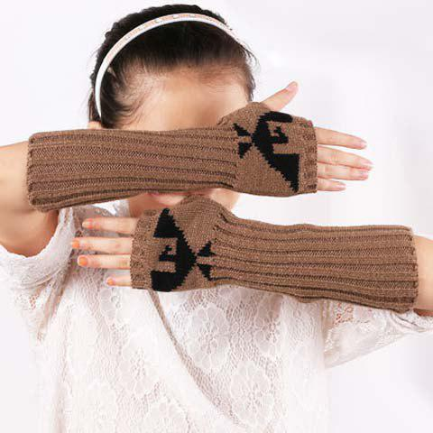 Affordable Pair of Chic Bird Pattern Striped Knitted Fingerless Gloves For Women