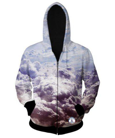 Shop Trendy Fitted Hooded 3D Clouds Pattern Long Sleeve Cotton Blend Hoodie For Men