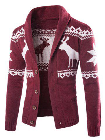 Best Modish Slimming Turndown Collar Christmas Snowflake Fawn Jacquard Long Sleeve Cotton Blend Cardigan For Men WINE RED XL