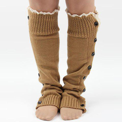 Online Pair of Chic Lace Edge and Buttons Embellished Knitted Leg Warmers For Women COLOR ASSORTED