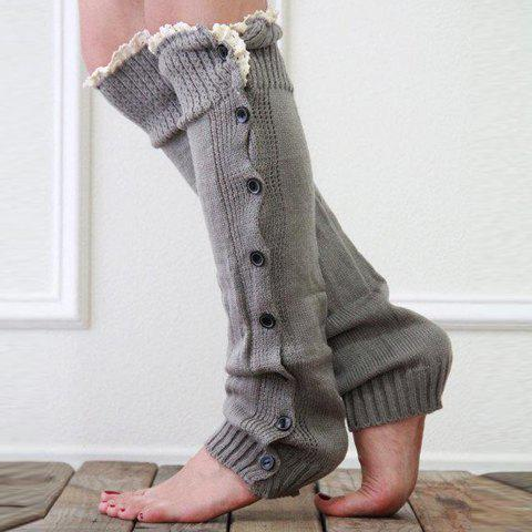 Buy Pair of Chic Lace Edge and Buttons Embellished Knitted Leg Warmers For Women - COLOR ASSORTED  Mobile