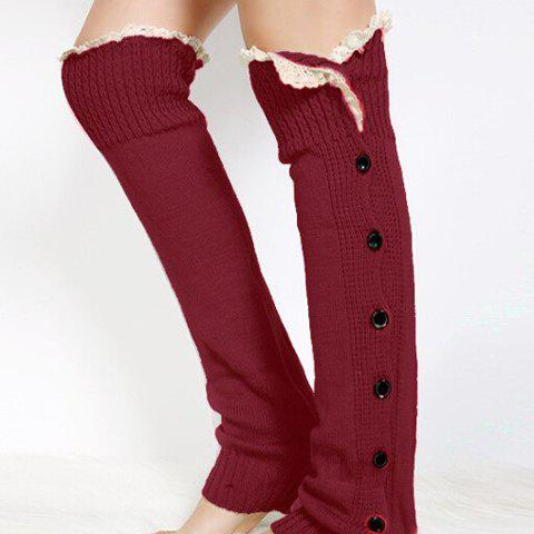Trendy Pair of Chic Lace Edge and Buttons Embellished Knitted Leg Warmers For Women - COLOR ASSORTED  Mobile