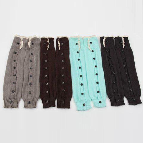 Affordable Pair of Chic Lace Edge and Buttons Embellished Knitted Leg Warmers For Women - COLOR ASSORTED  Mobile