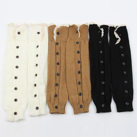 Latest Pair of Chic Lace Edge and Buttons Embellished Knitted Leg Warmers For Women - COLOR ASSORTED  Mobile