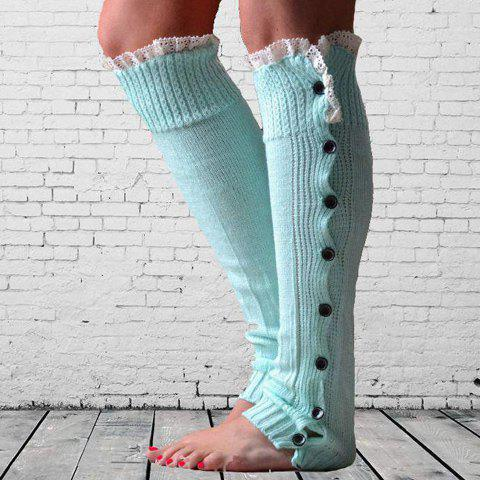 Chic Pair of Chic Lace Edge and Buttons Embellished Knitted Leg Warmers For Women - COLOR ASSORTED  Mobile