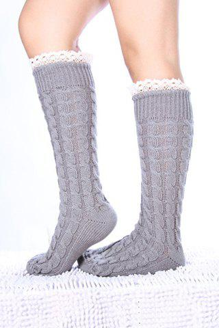 Buy Pair of Chic Lace Edge Hemp Flower Knitted Stockings For Women COLOR ASSORTED