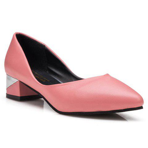 Best Concise Solid Colour and PU Leather Design Women's Pumps