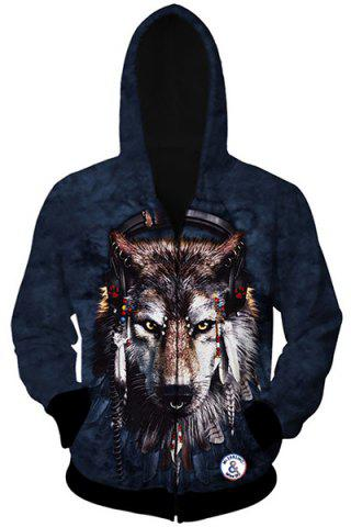 Outfit Trendy Slimming Hooded 3D Wolf Head Pattern Long Sleeve Cotton Blend Hoodie For Men AS THE PICTURE M