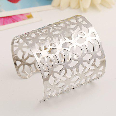 Shops Hollow Out Flower Irregular Cuff Bracelet SILVER