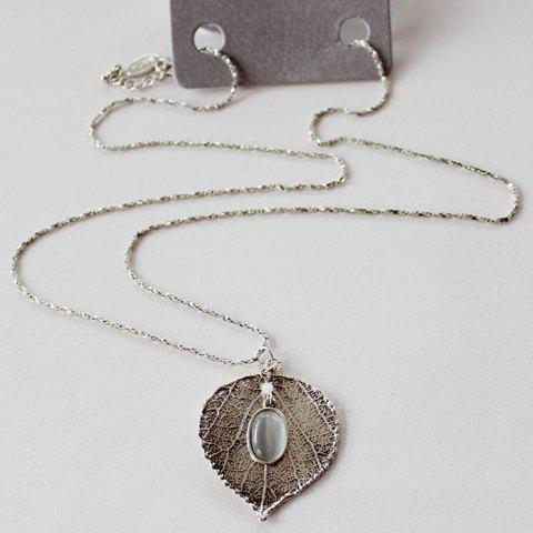 Shop Retro Leaf Faux Opal Pendant Necklace SILVER