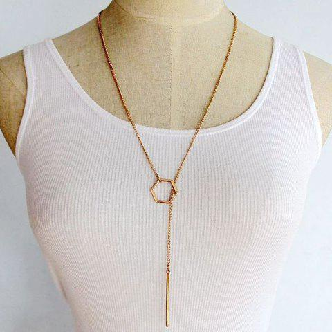 Bar Hollow Out Geometric Pendant Necklace - GOLDEN