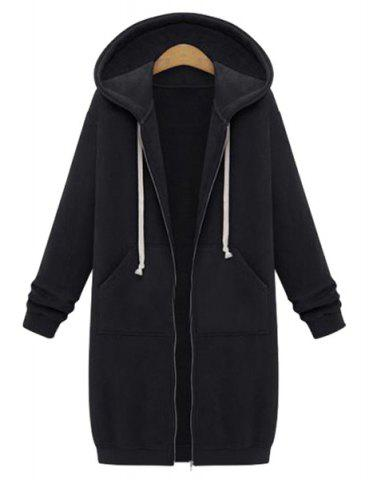 Fancy Casual Style Hooded Long Sleeve Solid Color Zip Design Women's Hoodie