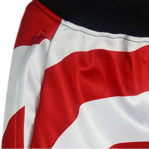 Affordable Loose Fit Modish Lace-Up Stars and Stripes Print Beam Feet Men's Cotton Blend Jogger Pants - S RED Mobile