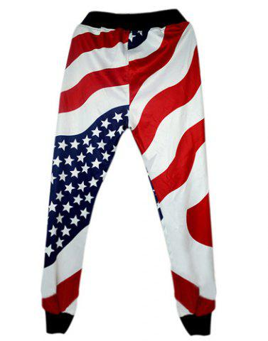 Shops Loose Fit Modish Lace-Up Stars and Stripes Print Beam Feet Men's Cotton Blend Jogger Pants - S RED Mobile