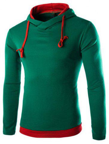 Hot Trendy Slimming Hooded Simple Color Splicing Long Sleeve Cotton Blend Hoodie For Men