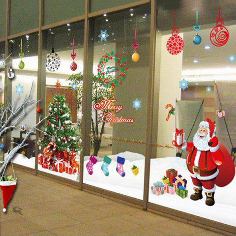 Chic Simple Home Decoration PVC Father Christmas Pattern Decorative Wall Stickers - COLORMIX