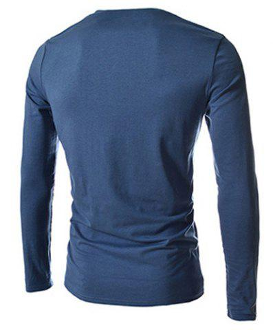 Shops Trendy Slimming Round Neck Double Breasted Solid Color Long Sleeve Cotton Blend T-Shirt For Men - 2XL BLUE Mobile