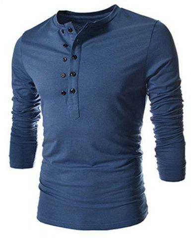 Best Trendy Slimming Round Neck Double Breasted Solid Color Long Sleeve Cotton Blend T-Shirt For Men - 2XL BLUE Mobile
