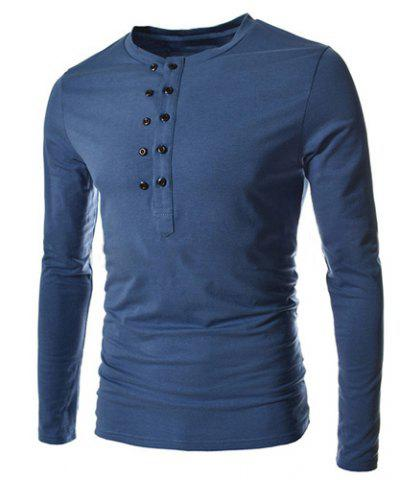 Discount Trendy Slimming Round Neck Double Breasted Solid Color Long Sleeve Cotton Blend T-Shirt For Men