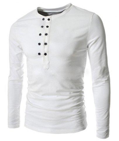 Trendy Slimming Round Neck Double Breasted Solid Color Long Sleeve Cotton Blend T-Shirt Men
